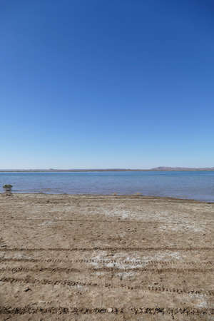 Lake in hardscrabble desert near  Rissani, Morocco, Africa