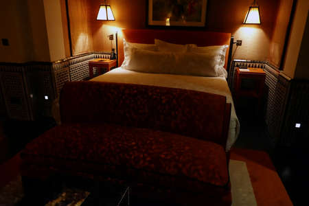 MARRAKECH, MOROCCO - FEB 18, 2019 - Bedroom suite in a luxury hotel, Selman, Marrakech,  Morocco
