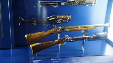 MUNICH - JUL 22, 2018 - Antique muskets and pistols in the Bavarian National Museum, Munich, Germany