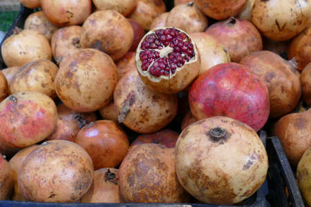 Pomegranates for sale in the market medina of Fes, Morocco, Africa 版權商用圖片