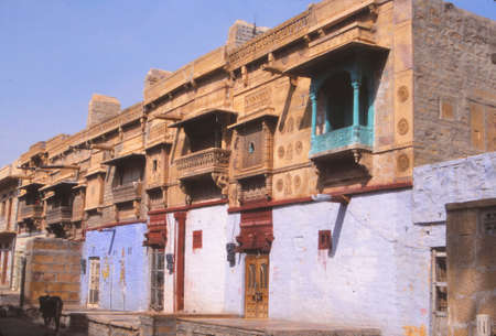 Carved limestone balcony fronts of buldings in Jaisalmer, India