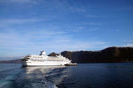 Cruise ship in the sunken caldera of Santorini, Greece