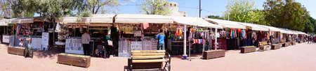BOZCAADA, TURKEY - APR 28, 2018 - Souvenir stands on the waterfront of  the island of Bozcaada, Turkey Redactioneel