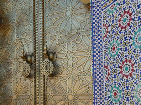 Mosaic pattern on the doors of the National Palace, Fes, Morocco, Africa