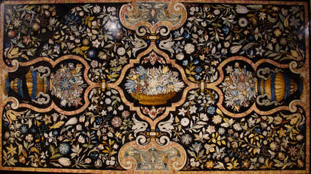 MUNICH - JUL 22, 2018 - Intricate inlaid marble table top, Bavarian National Museum, Munich, Germany