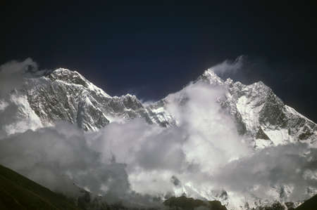 Nuptse and Lhotse, near Everest, two of highest mountains, Khumbu Himalaya,Nepal, Asia