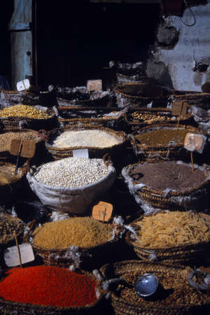 Spices and grains in the open market of  Edfu, Egypt, Middle East