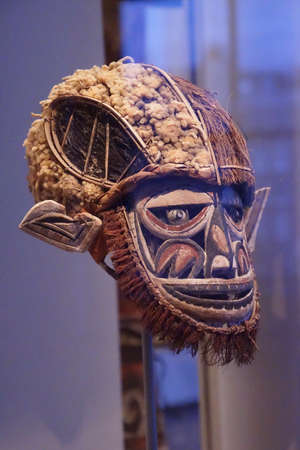 AMSTERDAM, NETHERLANDS - DEC 12, 2018 - Dance masks of the ancestors from Indonesia, Tropen Museum, Amsterdam, Netherlands