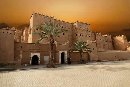 Exterior buildings of Kasbah Taourirt, Ouarzazate,  Morocco, Africa Standard-Bild - 120886383