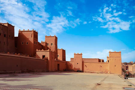 Exterior buildings of Kasbah Taourirt, Ouarzazate,  Morocco, Africa