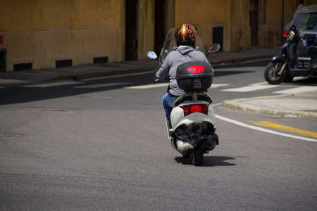 Motorcycle on a street in Livorno, Italy