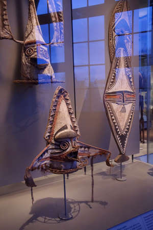 AMSTERDAM, NETHERLANDS - DEC 12, 2018 - Traditional dance masks of Papua, New Guinea, Tropen Museum, Amsterdam, Netherlands