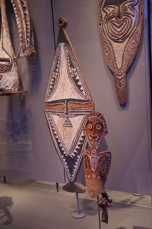 AMSTERDAM, NETHERLANDS - DEC 12, 2018 - Traditional dance masks of Papua, New Guinea, Tropen Museum, Amsterdam, Netherlands