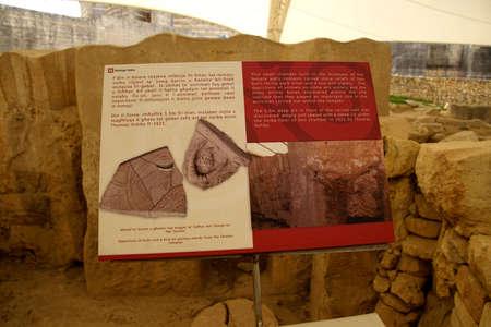 TARXIEN, MALTA - NOV 30, 2018 - Signs explain the neolithic temples of Tarxien, Malta