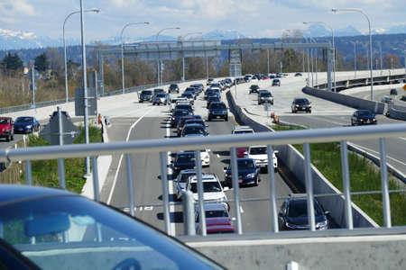 SEATTLE, MAR 30, 2019 - Traffic on SR-520 bridge on a sunny spring day, Seattle, Washington