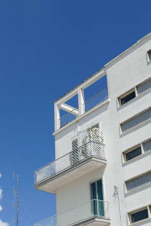 Modern white modular building in Alberobello, Puglia, Italy