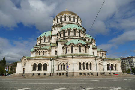 Exterior of domed Cathedral Alexander Nevsky, Sofia, Bulgaria