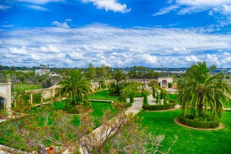 LECCE, ITALY - APR 7, 2019 - Exterior gardens of the Tenuta  Mose villa near Lecce, Puglia, Italy