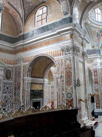 MONOPOLI, ITALY - APR 11, 2019 -Baroque interior of the Basilica Cathedral della Madonna della Madia, Monopoli, Puglia, Italy