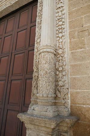 Carvings on entrance  to St. Nicholas church , Squalzino, Puglia, Italy Reklamní fotografie