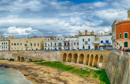 Ionian waterfront of Gallipoli, Puglia, Italy 스톡 콘텐츠