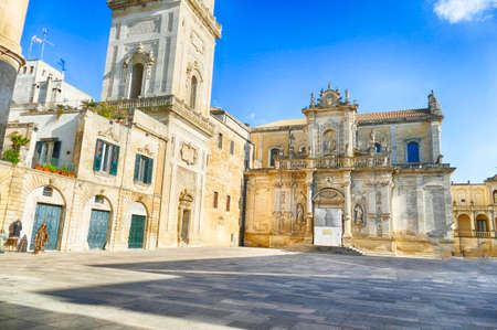 Baroque bell tower of the Lecce Cathedral, Lecce, Puglia, Italy 스톡 콘텐츠