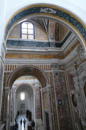 MONOPOLI, ITALY - APR 11, 2019 -Marble inlays of the Basilica Cathedral della Madonna della Madia, Monopoli, Puglia, Italy
