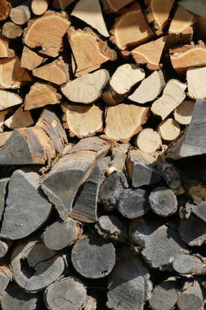 Abstract pattern of stacked firewood, Ethnological village of Etura, Gabravo, Bulgaria