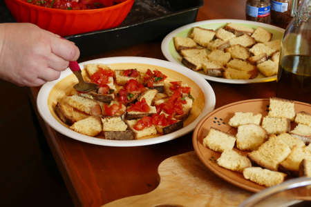 Making antepasti during a cooking class in Squalzino, Puglia, Italy