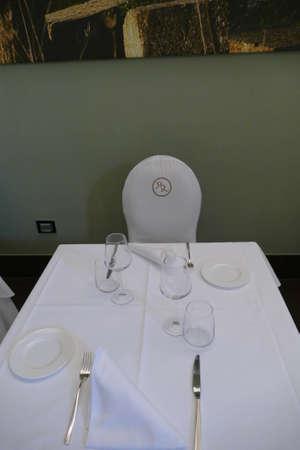 LECCE, ITALY - APR 7, 2019 - Dining area in a luxury hotel, Risorgimento Resort, Lecce, Puglia, Italy