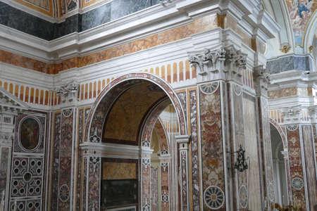 MONOPOLI, ITALY - APR 11, 2019 -Marble inlays of the Basilica Cathedral della Madonna della Madia, Monopoli, Puglia, Italy 写真素材