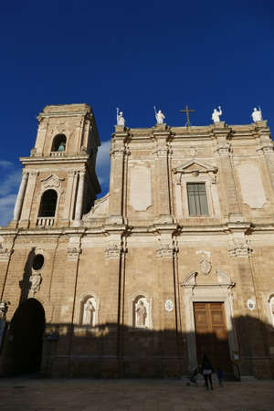 Sunset on the exterior of the Cathedral basilica,Brindisi, Puglia, Italy Редакционное