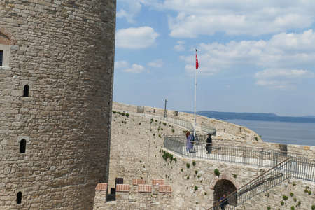 Rounded walls of the citadel of Kalitbahir Ottoman Fortress, Kalitbahir, Turkey