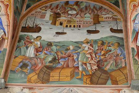 RILA, BULGARIA - APR 13, 2019 - Exterior fresco bible stories, Rila orthodox monastery, Rila, Bulgaria Editorial