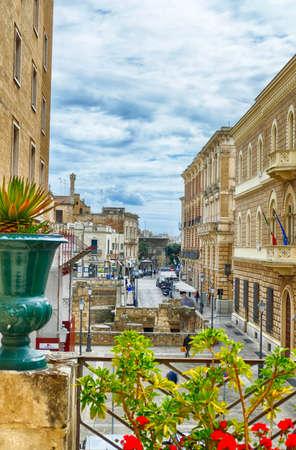 LECCE, ITALY - APR 7, 2019 - View from a bedroom suite in a luxury hotel, Risorgimento Resort, Lecce, Puglia, Italy