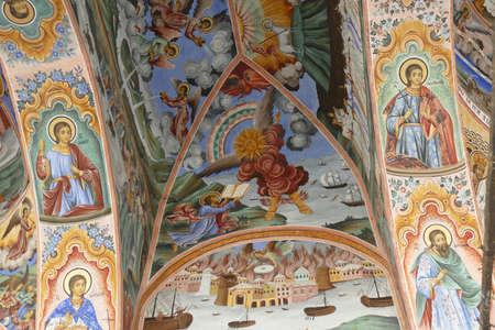 RILA, BULGARIA - APR 13, 2019 - Exterior fresco bible stories, Rila orthodox monastery, Rila, Bulgaria Stock Photo