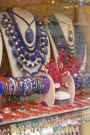 KORCULA, CROATIA - APR 28, 2019 - Traditional Adriatic coral and lapis jewelry,  Korcula, Croatia Banco de Imagens