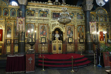 SOFIA, BULGARIA - APR 13, 2019 - Iconostasis separates nave from apse in St. Kyriaki church, Sofia, Bulgaria Editorial
