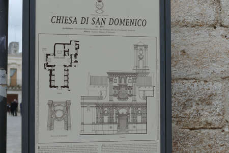 NARDO, ITALY - APR 7, 2019 - Plan and elevation of the Church of San Domenico, Nardo, Puglia, Italy