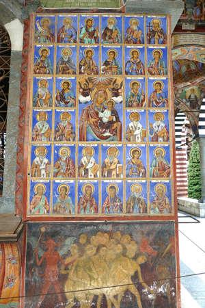 RILA, BULGARIA - APR 13, 2019 - Exterior fresco paintings of bible stories, Rila orthodox monastery, Rila, Bulgaria