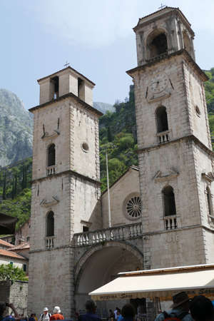 KOTOR, MONTENEGRO - APR 25, 2019 - Romanesque Cathedral of Saint Tryphon in  Kotor, Montenegro