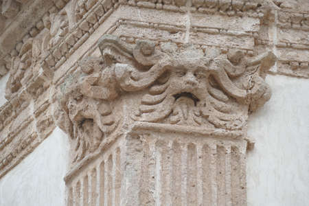 Exterior beast on corinthian capital of column, Nardo, Puglia, Italy