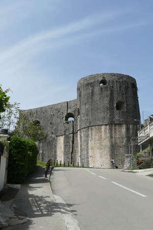 Stone walls of the Kanli Kula Fortress,Herceg Novi, Montenegro 新聞圖片