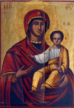 HERCEG NOVI, MONTENEGRO -. APR 24, 2019 - Icon of Madonna and Christ child, Savina Orthodox monastery,Herceg Novi, Montenegro