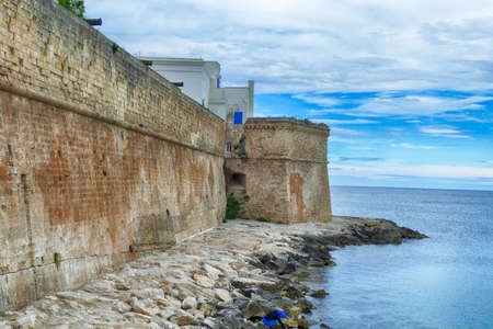 Ancient fortifications on the Adriatic waterfront of Polignano, Puglia, Italy
