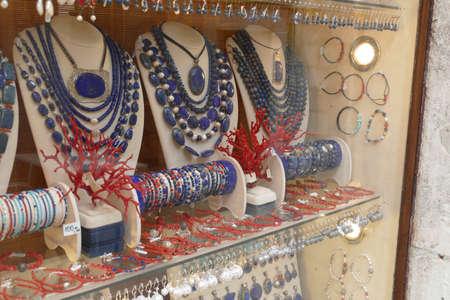 KORCULA, CROATIA - APR 28, 2019 - Traditional Adriatic coral and lapis jewelry,  Korcula, Croatia Editorial