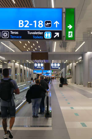 ISTANBUL -APR 23, 2019 - Departure area in the new Istanbul airport opened in April 2019, Turkey Editorial