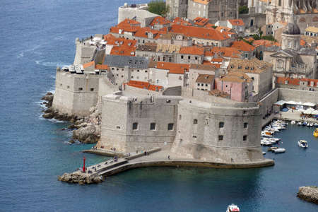 Aerial view of the old city of  Dubrovnik, Croatia 免版税图像