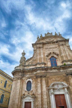 Baroque exterior of Basilica Cathedral della Madonna della Madia, Monopoli, Puglia, Italy