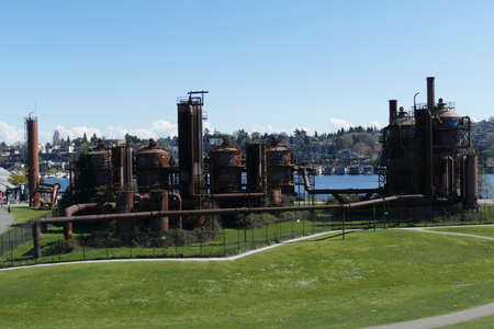Vintage gas works now public art installation in Gas Works Park, Seattle, Washington Editorial